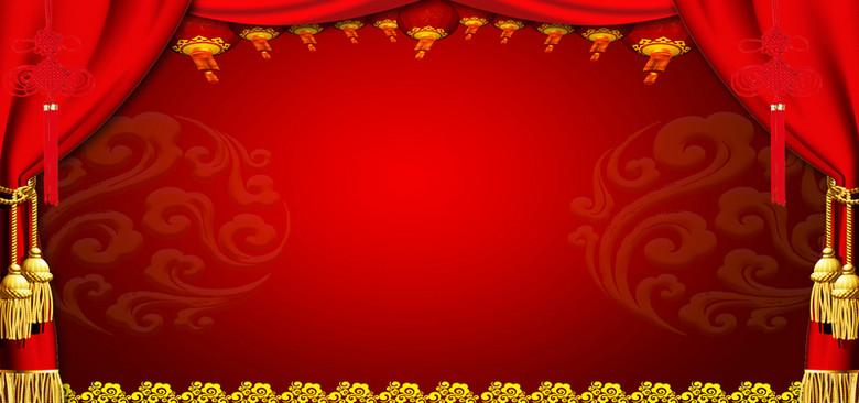 喜庆中国结红色婚庆海报背景