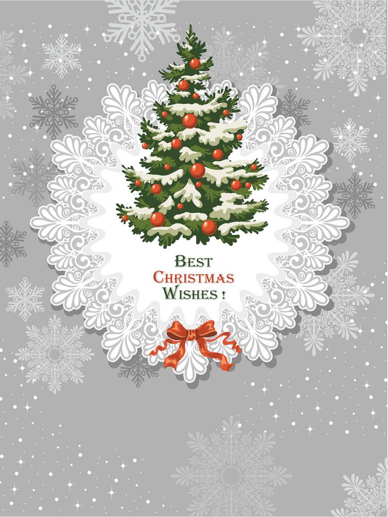浅色文艺圣诞树雪花背景素材