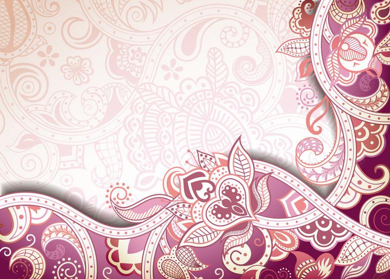 粉红花边花纹欧式背景素材
