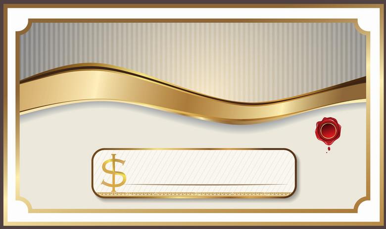 欧式高端大气金色边框优惠券背景