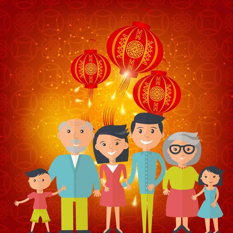 手绘春节一家人幸福家庭灯笼海报背景