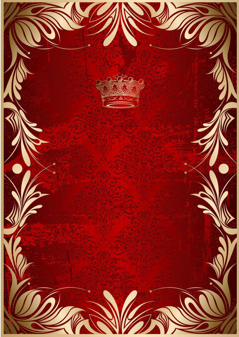 欧式花纹边框红底背景