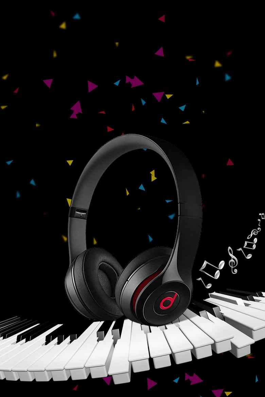黑色创意耳机音乐海报背景