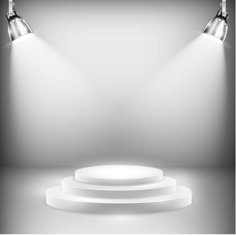 简约白色灯光舞台背景素材