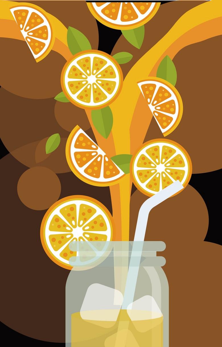 杯子里的橙汁背景素材