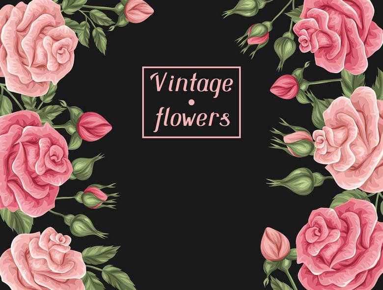 粉色玫瑰花边框海报背景素材