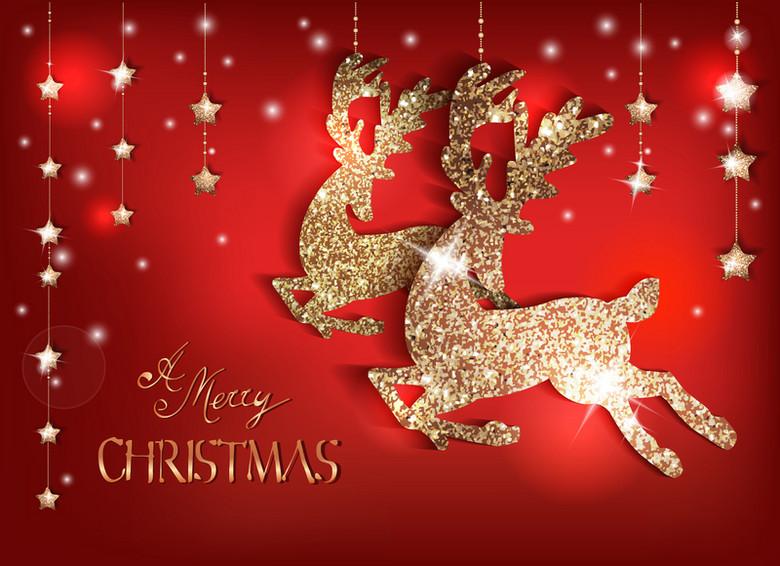 金色麋鹿圣诞背景