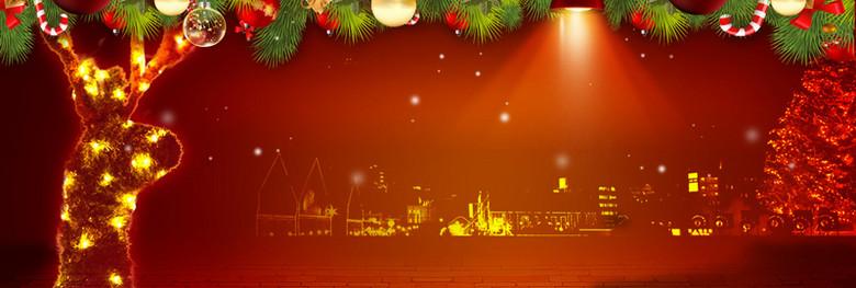 红色圣诞节海报banner