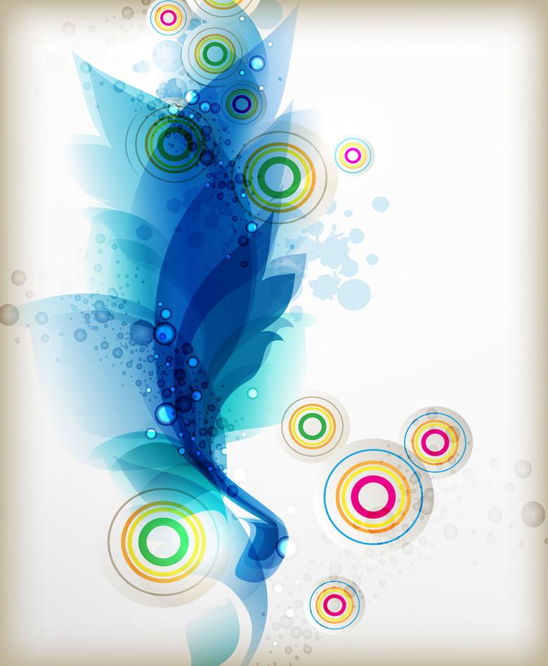 蓝色水彩抽象创意几何圆圈封面背景