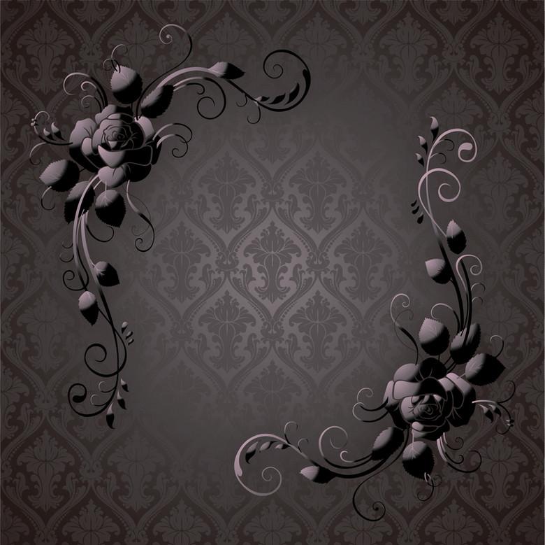 黑色玫瑰装饰商务画册背景素材