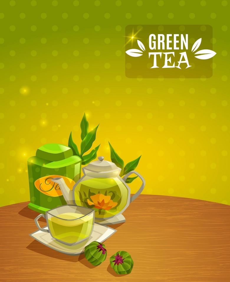 绿茶美食饮品背景