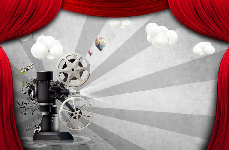 创意红色帷幕电影海报背景素材