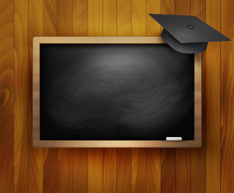 精美黑板与博士帽教育背景