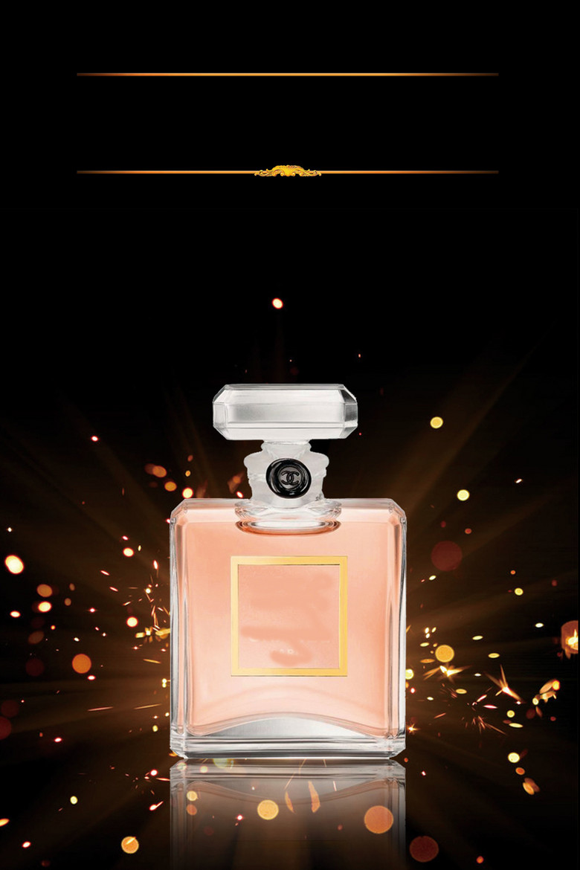 黑色绚丽梦幻香水广告模板海报背景素材