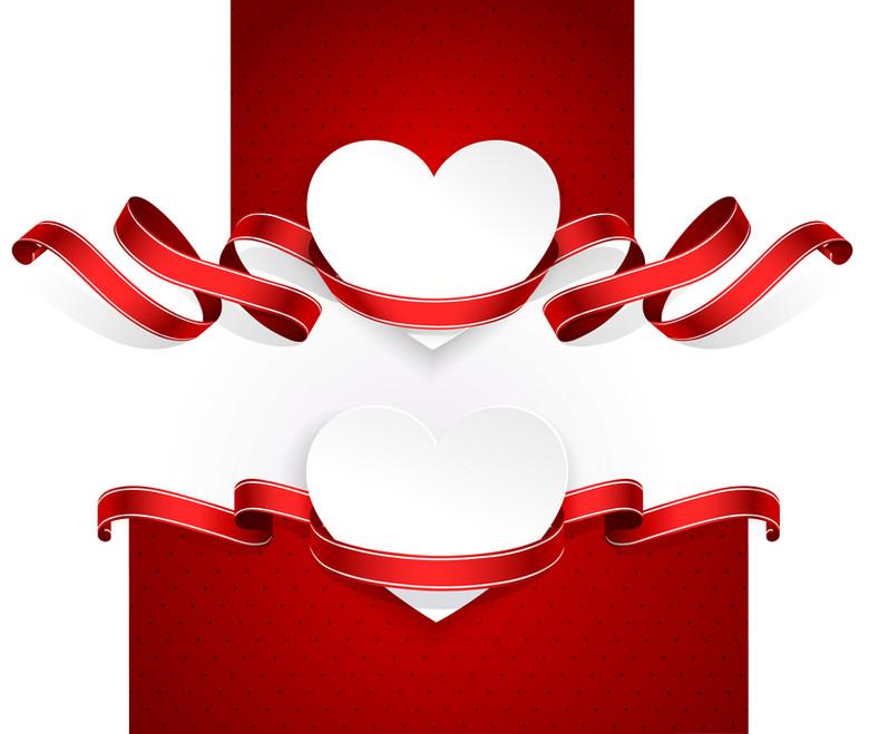 红色爱心丝带情人节海报背景
