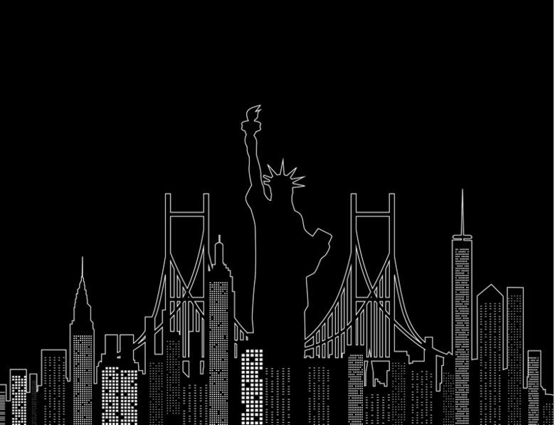 线条城市建筑