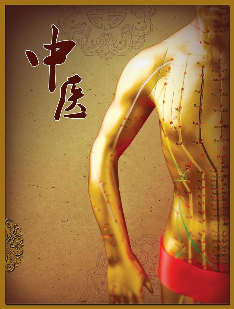 中医养生中国风人体经络展板背景