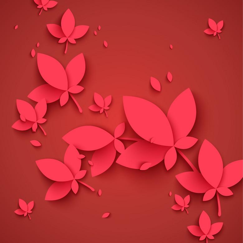 手绘红底剪纸蝴蝶背景