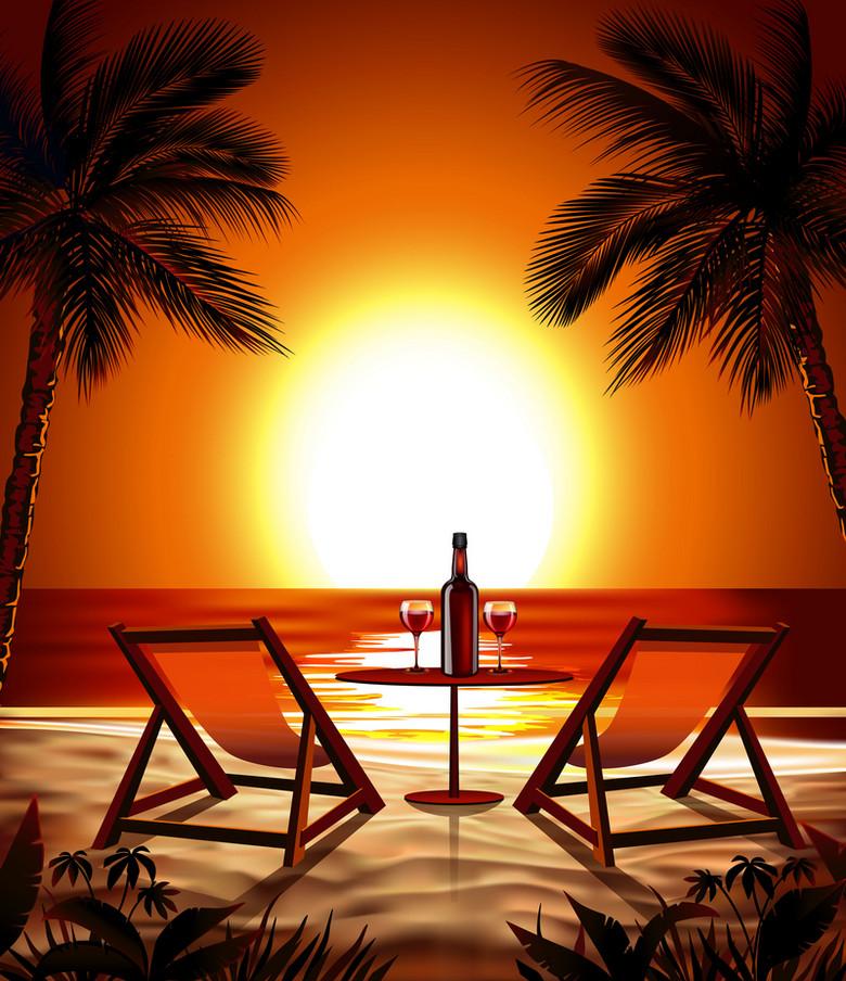 夕阳沙滩椰树度假旅游背景