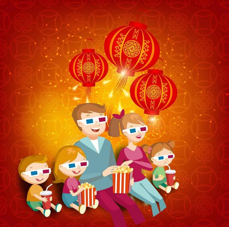 手绘春节一家人看电影大红灯笼海报背景