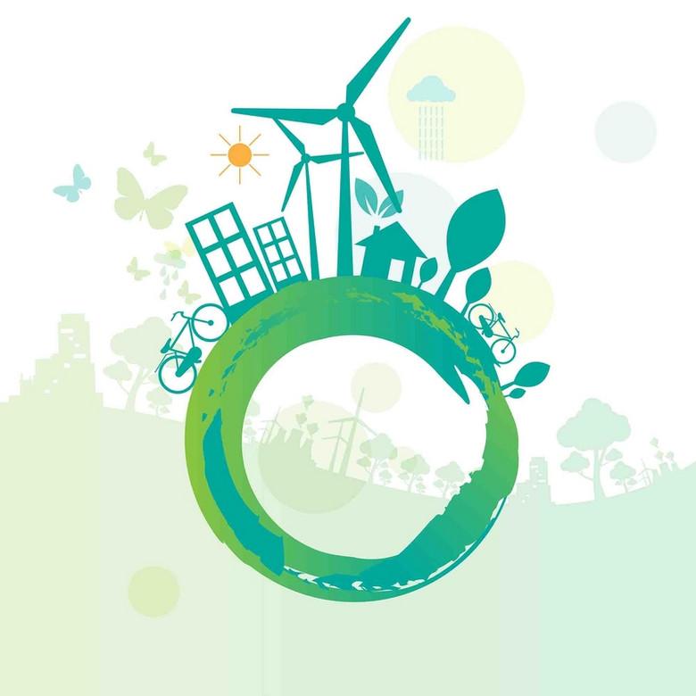 公益环保绿色拯救地球建筑风力发电海报背景