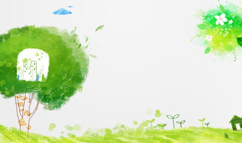 手绘绿色花草背景素材