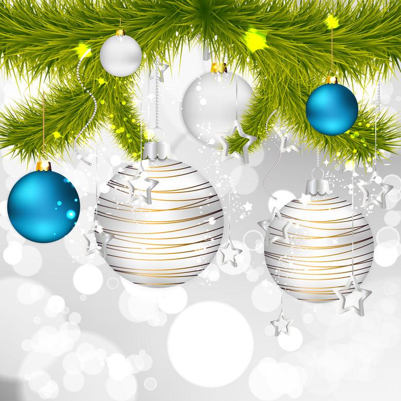 圣诞节华丽金属质感花矢背景图