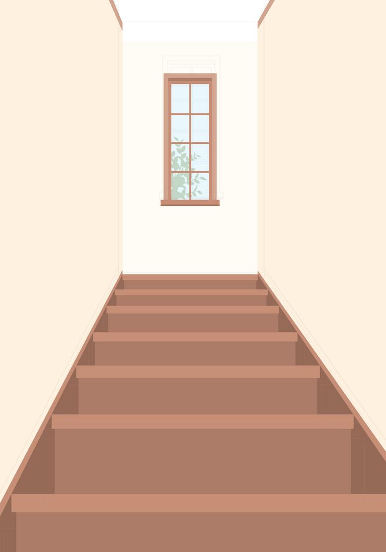 简约房屋楼梯背景模板