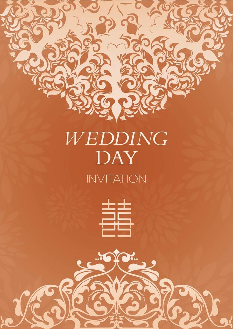 橙色欧式底纹婚庆邀请卡背景