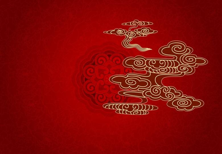 红色中国风背景素材
