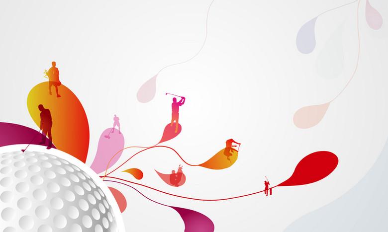炫彩高尔夫运动会海报背景