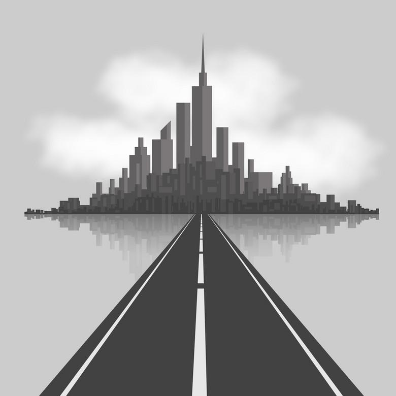 灰黑色建筑剪影马路文艺背景素材