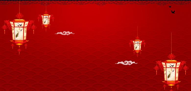 花灯红色新年节日背景