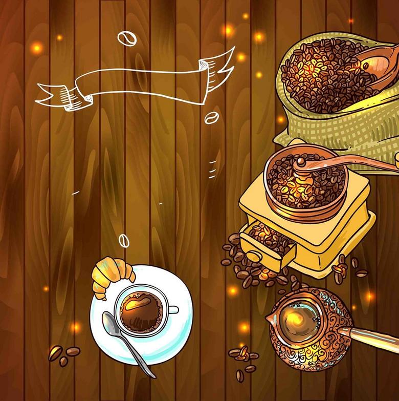 美式复古木板西餐手绘线稿咖啡机磨咖啡海报