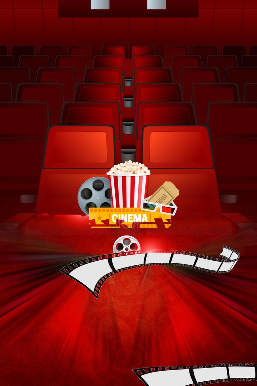 电影院看电影促销活动海报背景素材