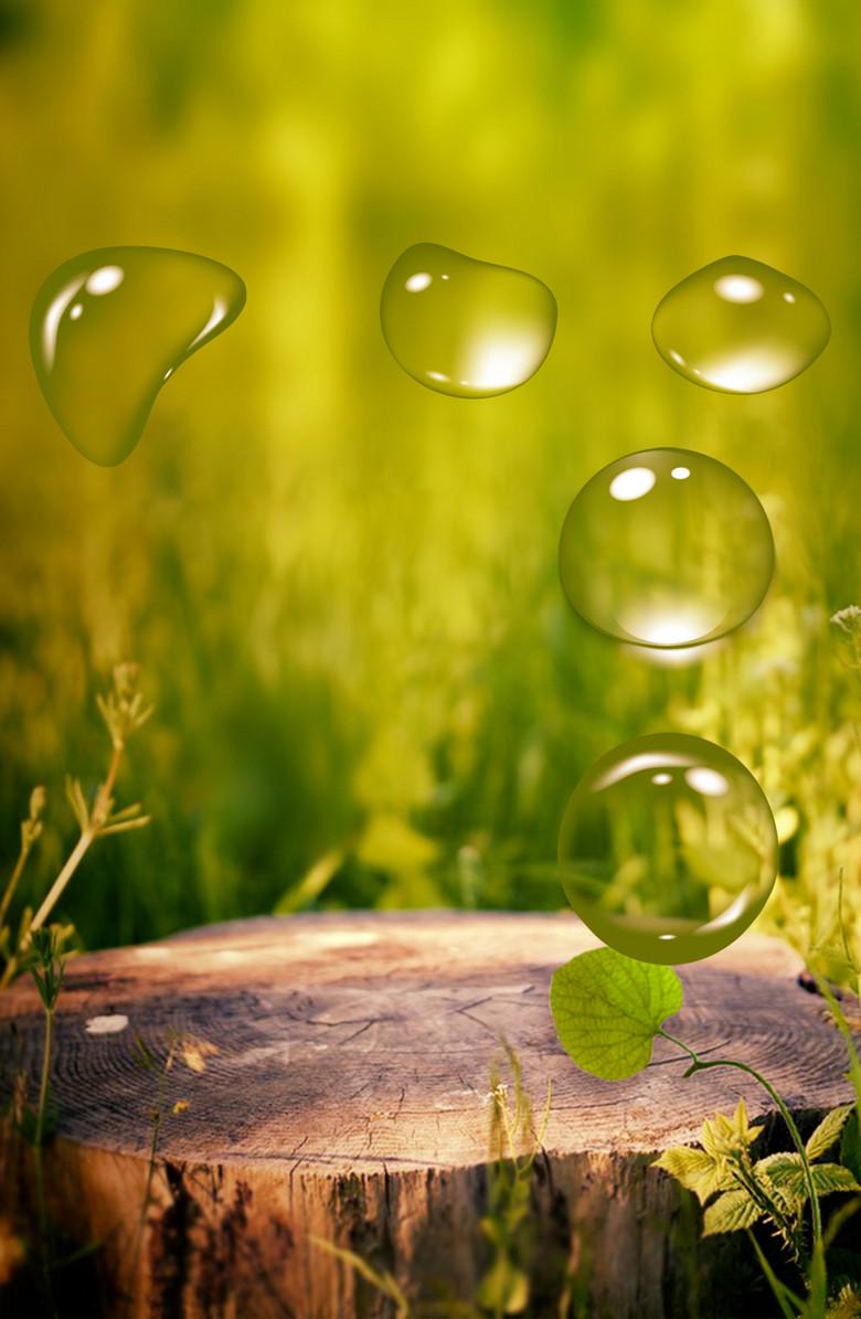 清新水珠树桩绿色背景素材