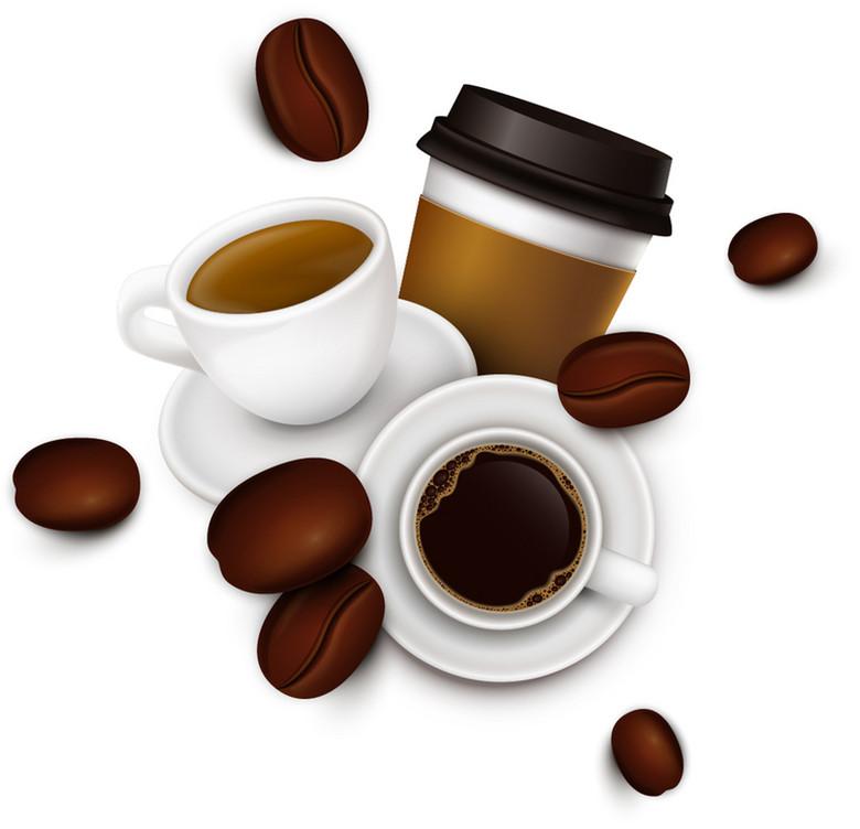 美味咖啡和咖啡豆背景素材