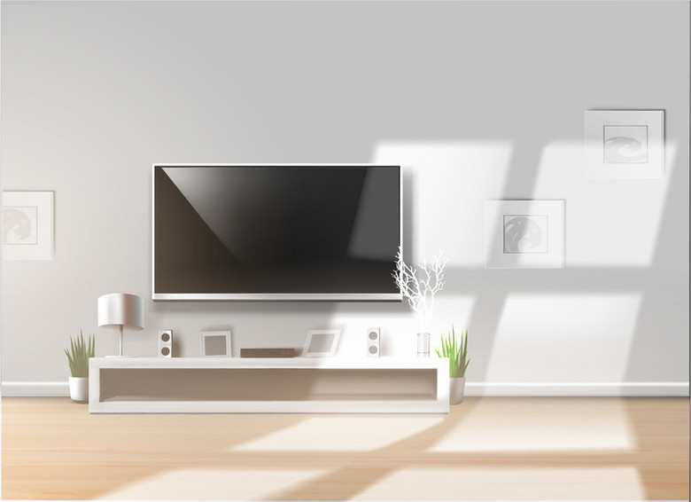 家居装修清新文艺电视柜背景素材