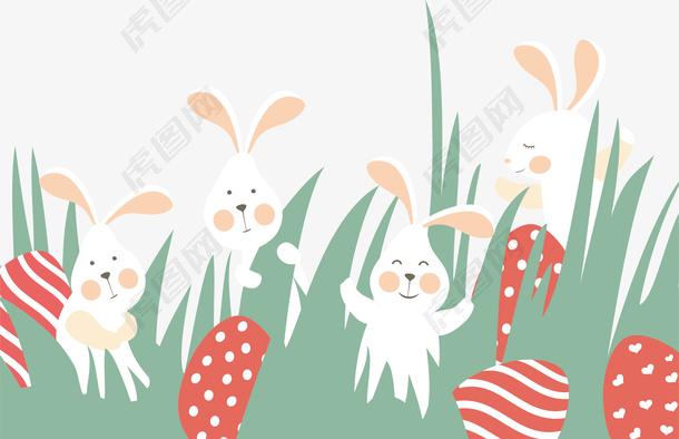 图水彩高兴的兔子