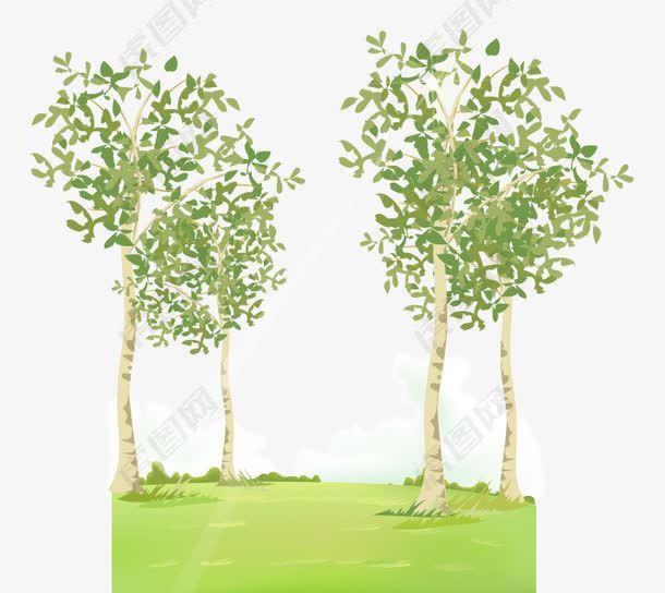 卡通手绘翠绿草地茂密树木