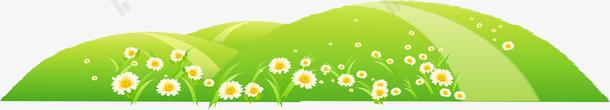 手绘绿色草地花朵