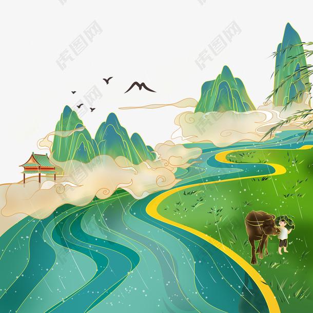国潮清明清明节风景中国风古风国
