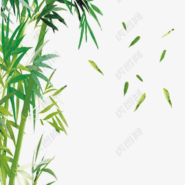 清明节水墨风竹叶元素
