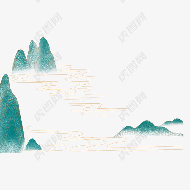 国潮风山体插画轮廓图