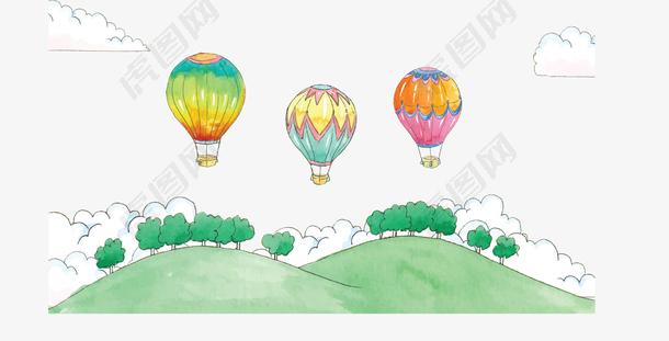 水彩手绘草地热气球